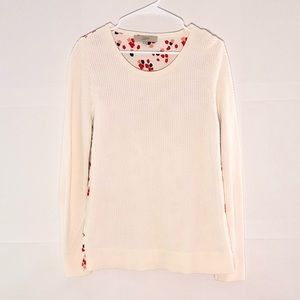 LOFT White Mixed Media Sweater Front -Floral back